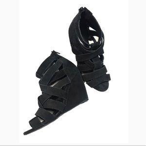 Zara Black Suede Strappy Wedges